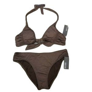 Kenneth Cole Swimsuit Brown Bikini Halter  Hipster